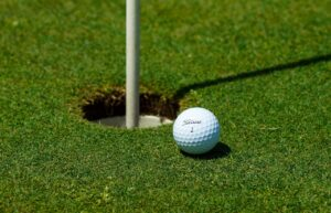 Titlest Golf Ball at cup and pin